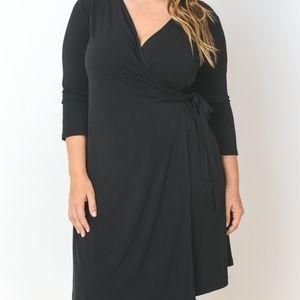 Dresses & Skirts - 3/4 Sleeve Faux Wrap Dress